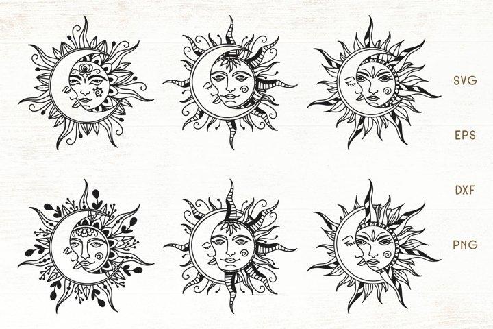 Sun and Moon Mandala - Zentangle Sun, Moon SVG Bundle