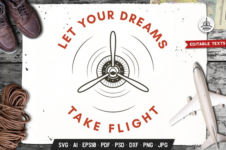 Airplane SVG Logo Badge Template Dream Travel Graphic DXF