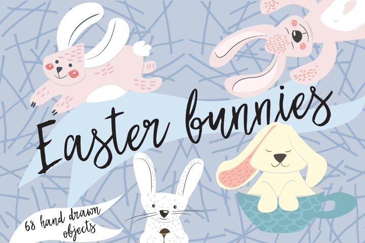 Set of 68 elements for spring and Easter