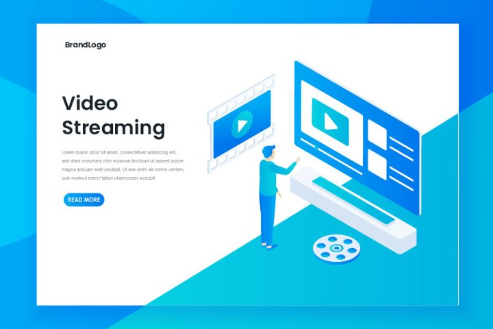Minimalist design isometric video streaming landing page
