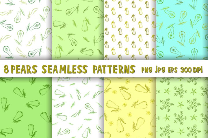 Pear digital paper,Pear pattern PNG,Pears seamless patterns