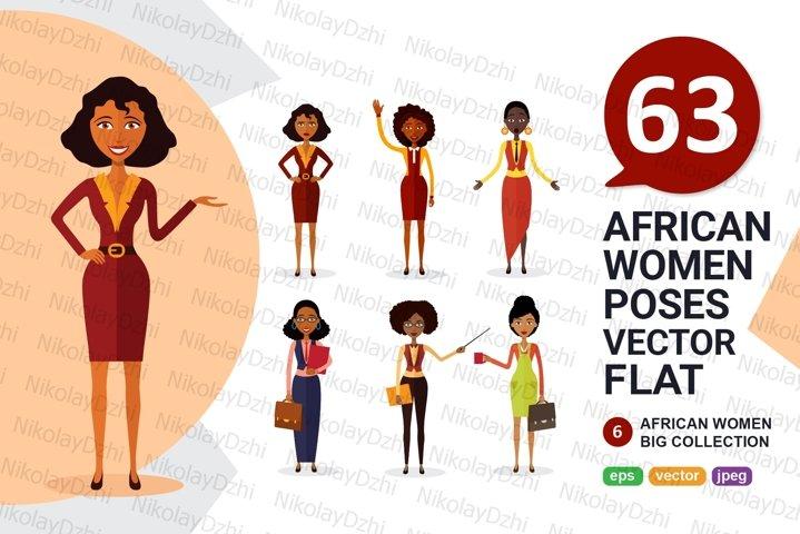 6 African varios women Character vector flat catoon