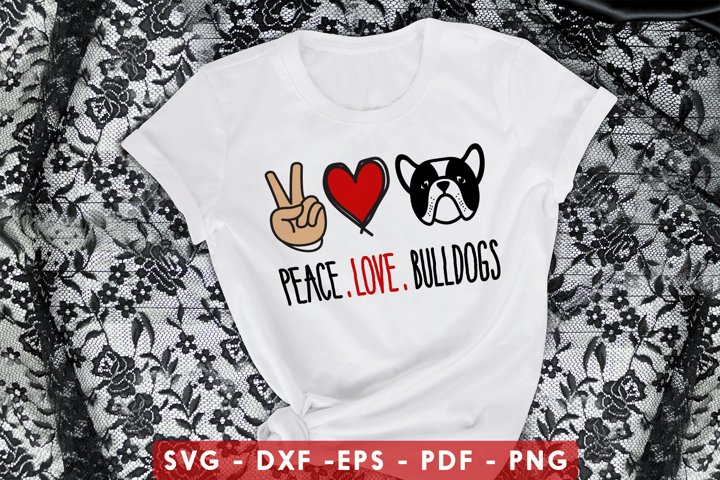 Peace Love Bulldogs SVG, DXF, PDF, EPS, PNG