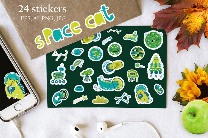 Kids Vector Stickers graphics Digital set Cats in space