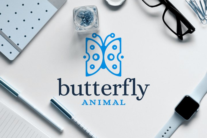 Insect Animal Logo Design of Beautiful Blue Butterfly