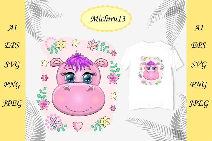Cute cartoon pink hippo with beautiful eyes