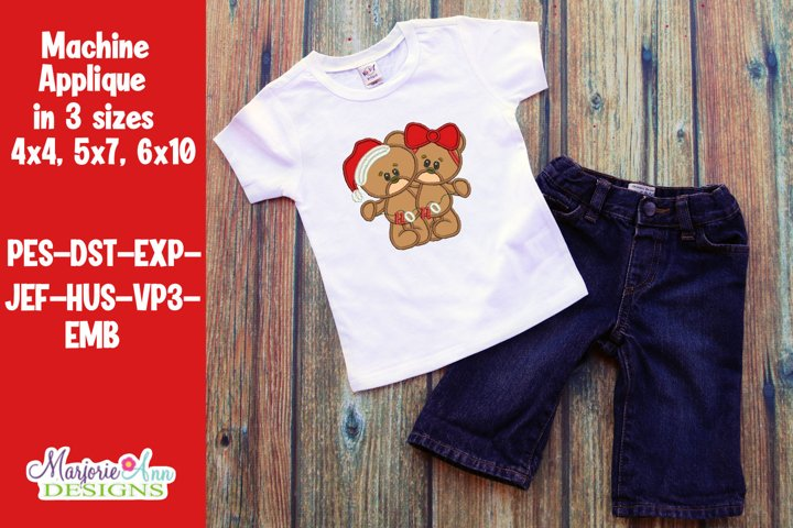Ho Ho Santa Bears Applique/Embroidery Design