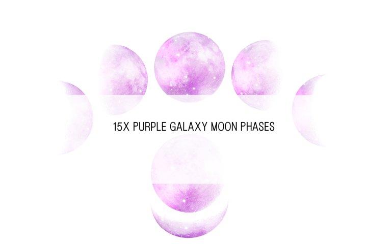 Purple Galaxy Moon Phases