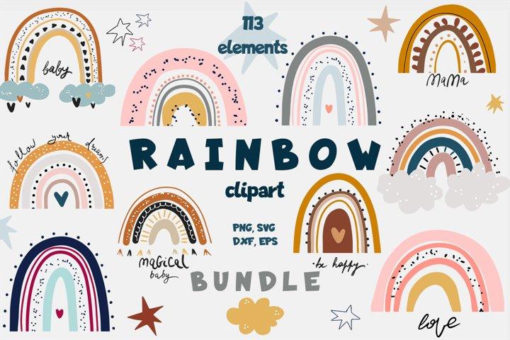 Rainbow Bundle | Clipart PNG SVG VECTOR