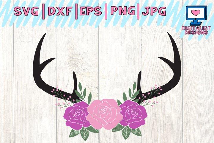 floral antlers, deer svg file, antlers svg, cricut design space, silhouette cameo, spring svg, hunting svg, svg for cricut, deer clipart
