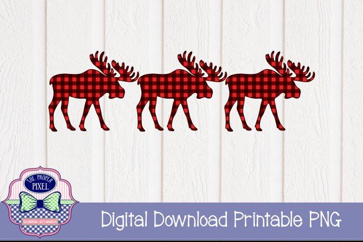 Moose Design Buffalo Plaid Christmas Sublimation Printable