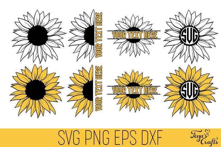 Sunflower SVG Pack | Sunflower Monogram SVG, Sunflower Split