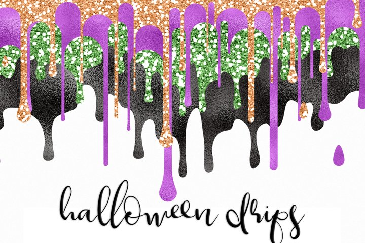 Halloween Dripping Glitter And Foil Overlays Clipart