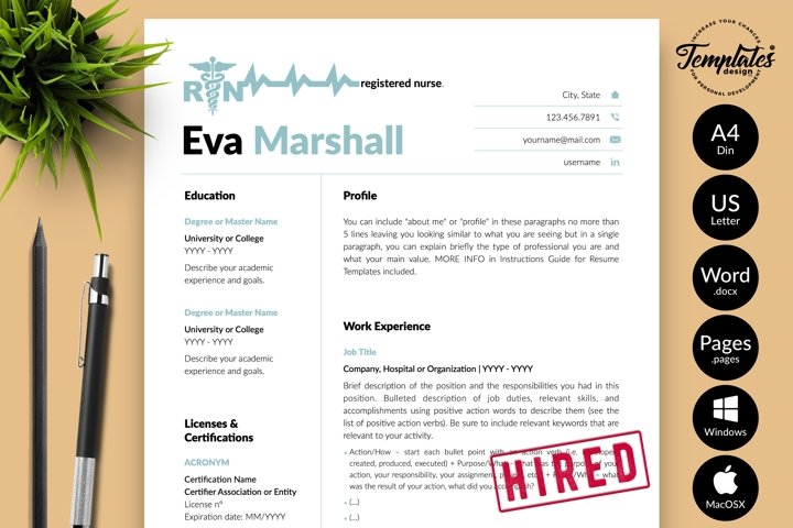 Nurse Resume CV Template for Word & Pages Eva Marshall