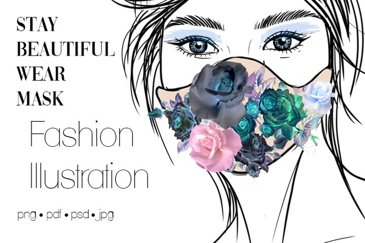 Fashion Illustration Clipart Sketching - Stay Safe Wear Mask