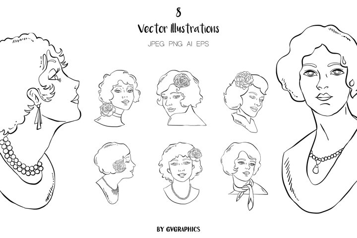 8 Hand Drawn Retro Women Vector Illustrations