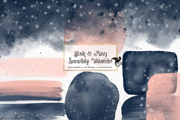 Blush and Navy Snowflake Watercolor Elements