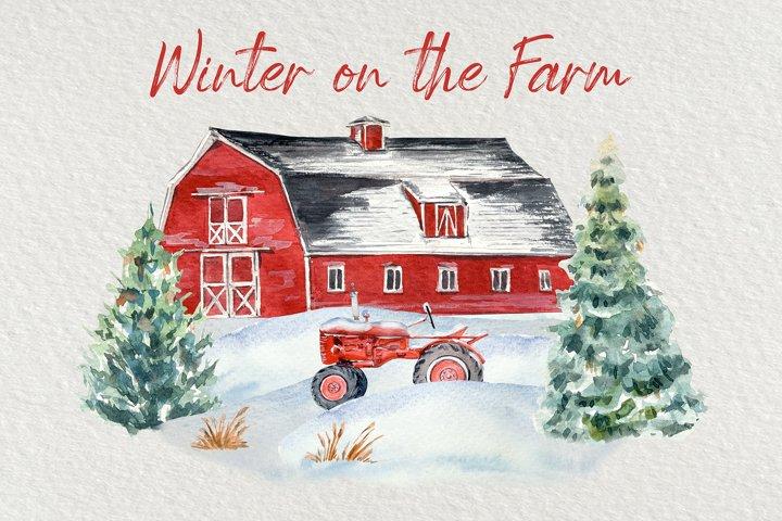 Winter on the Farm Clip Art Set