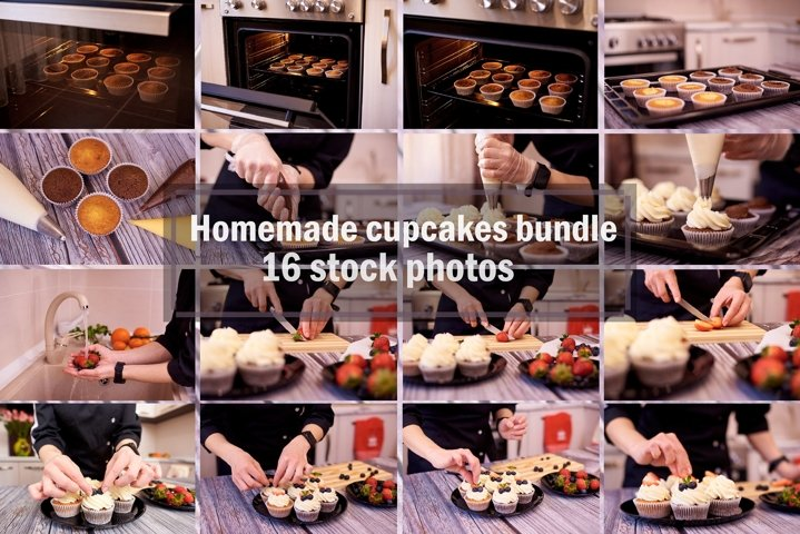 Homemade cupcakes bundle 16 stock photos.