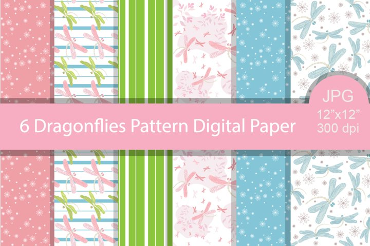 6 Dragonflies Patterns. Digital Paper.