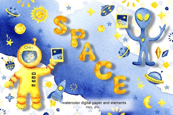 Space, universe, astronaut, alien, planet, star. Watercolor.