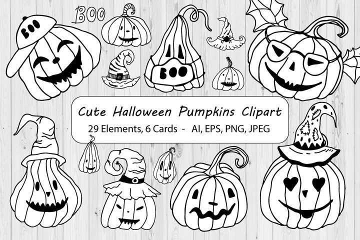 Black And White Halloween Pumpkins Clipart & Cards -Line Art