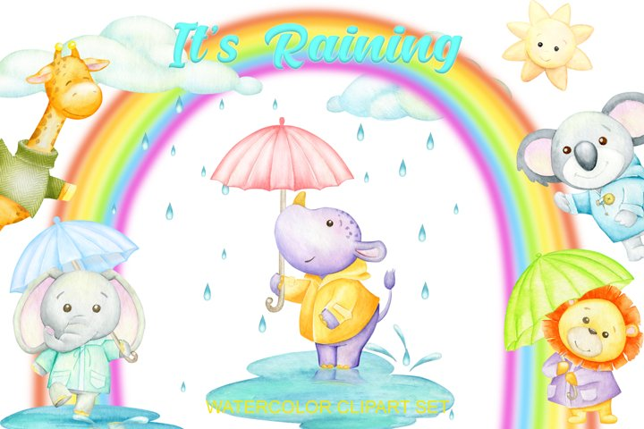 Watercolor weather clipart . tropical animals