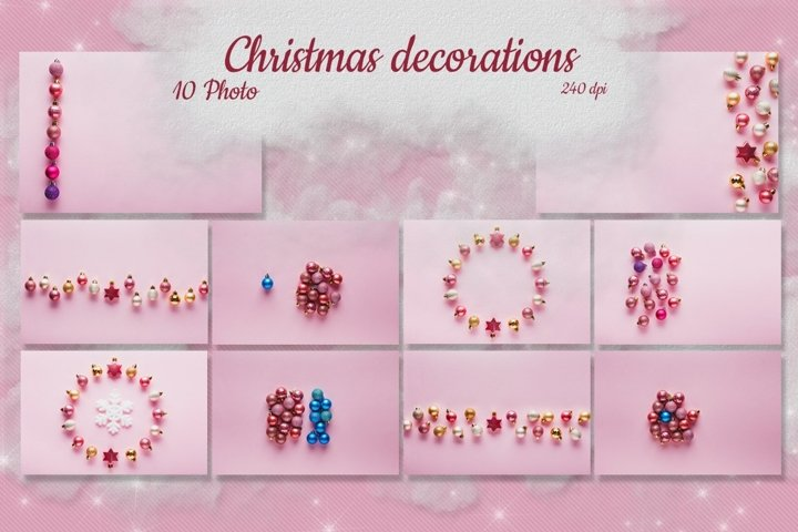 Set of 10 pictures Small pink Christmas balls on pink