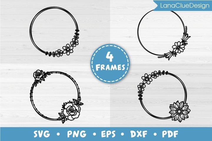 4 Floral Circle Frames SVG, Flower Monogram Frames