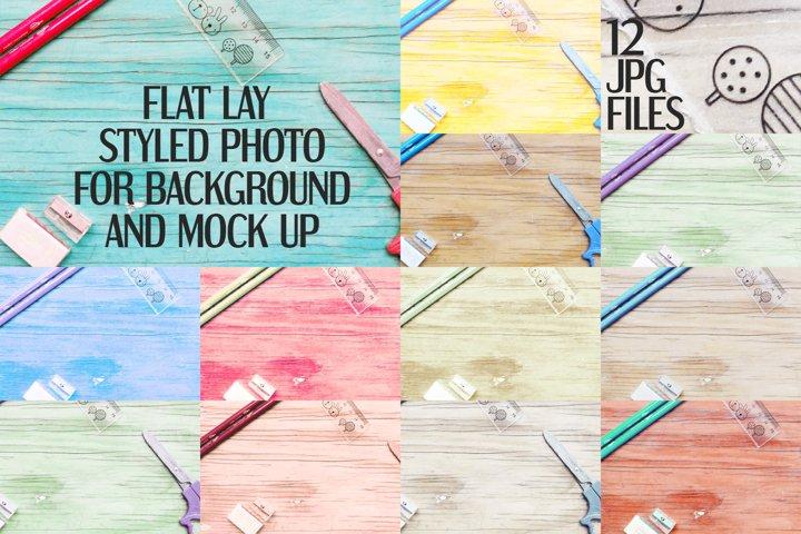 Stationery on wood background | Flat photo mock up bundle