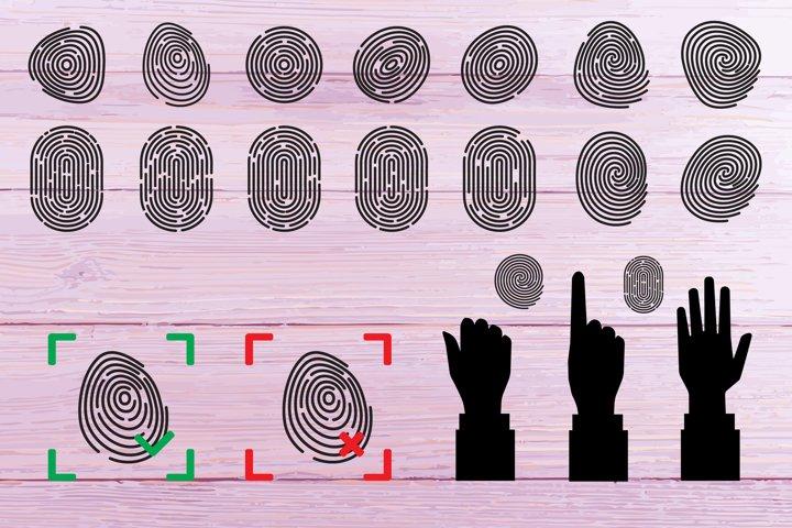 Fingerprint icon, thumbprint, finger print, biometric, thumb