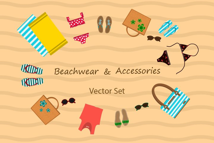 Beachwear & Accessories. Vector set.