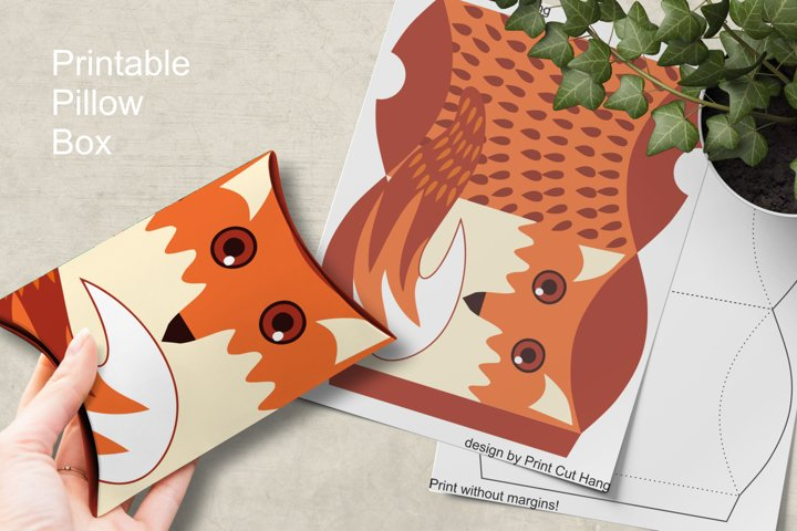 Printable Fox Pillow Box Small Favor Packaging PNG PDF files