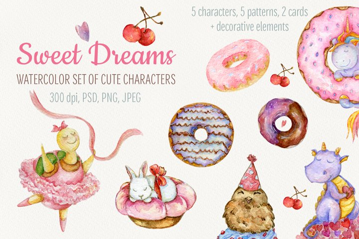 Watercolor cute Animals set. Sweets clipart. Patterns.