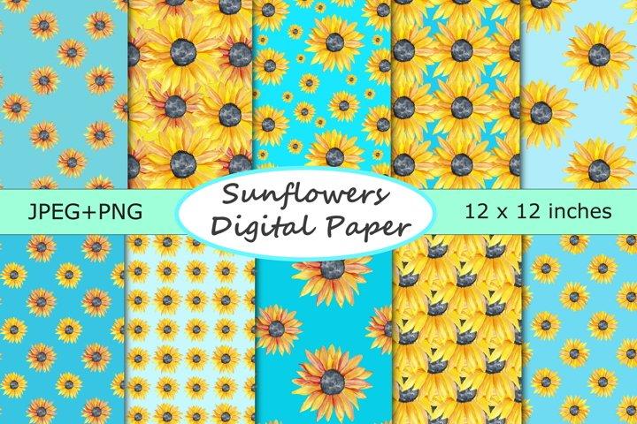 Watercolor Sunflowers Digital Paper - 10 Seamless Patterns