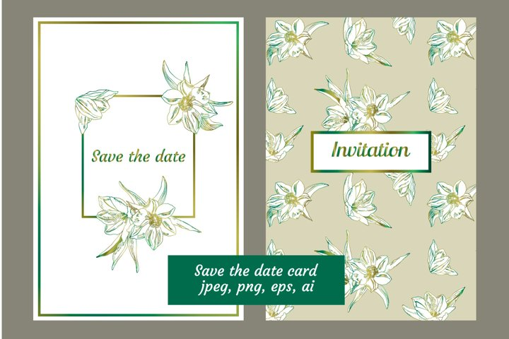 White tulips Save the date invitation cards templates