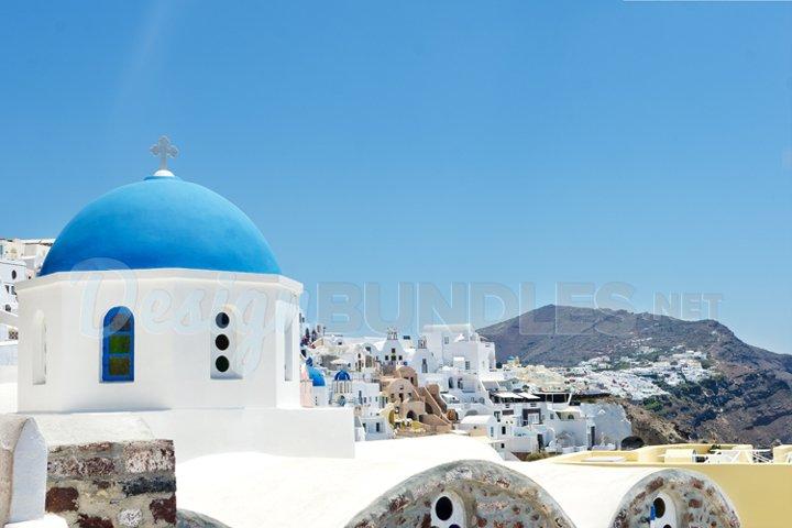 Church Oia island Santorini Greece postcard
