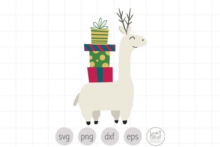 Llama with Gifts SVG Cut File for Christmas, Llama SVG