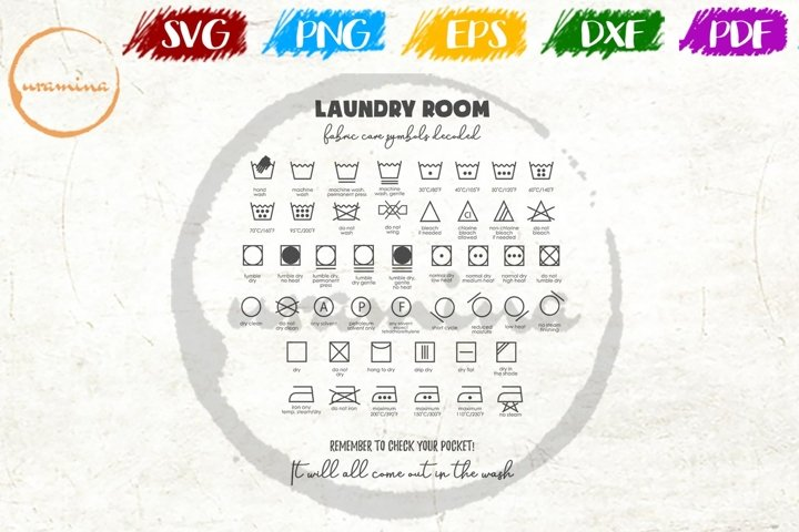 Laundry Room Care Symbols Wall Decor SVG PNG PDF DXF
