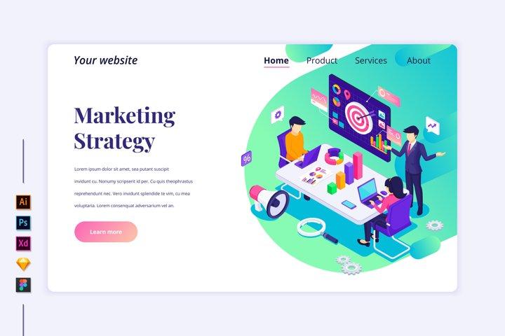 Isometric Marketing Strategy Landing page illustration