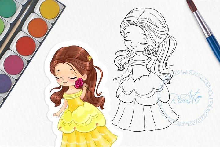 Cute princess PNG digital stamp. Princesses, fairytale, girl