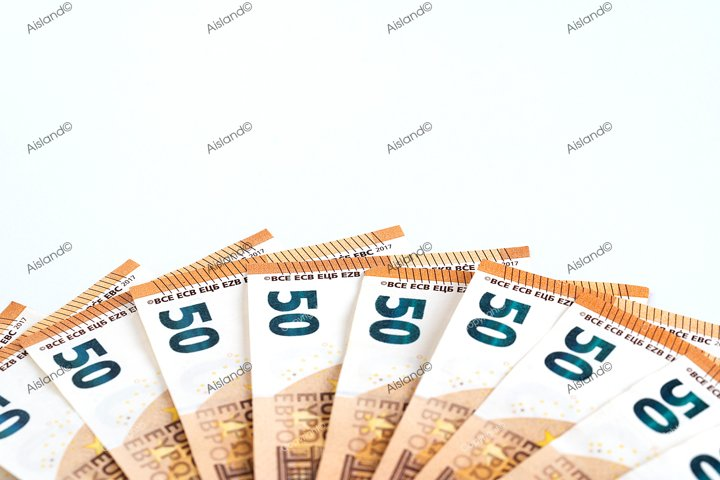 Money background euro cash banknotes spread as fan 50 euro