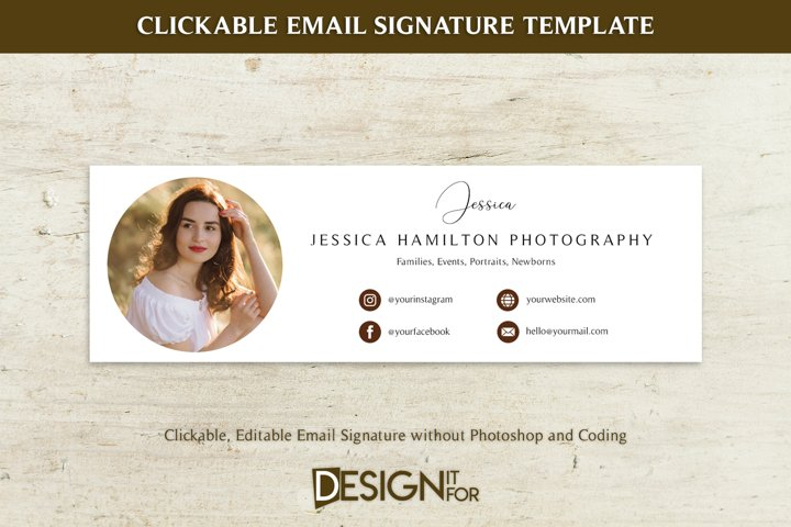 Email Signature Template Clickable Editable, Gmail Hotmail