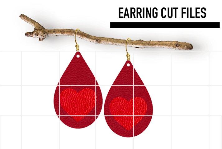 Heart Earrings Svg / Valentine Day Earrings Template