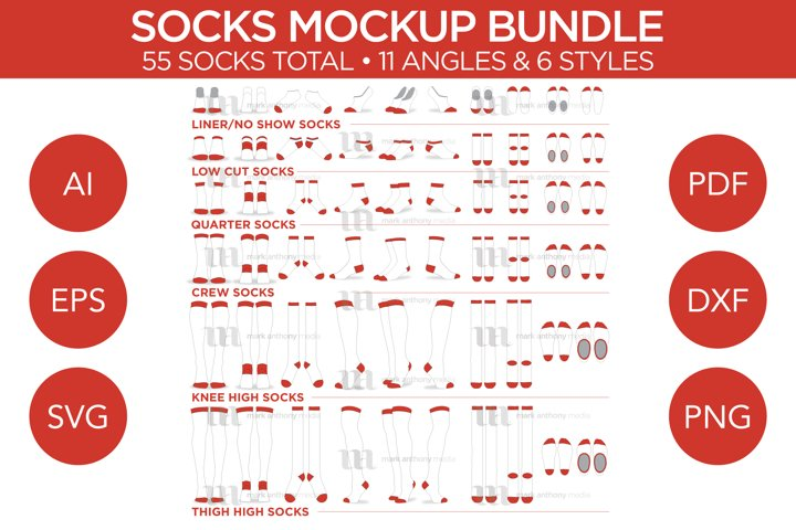 Socks Bundle - Vector Template Mockup