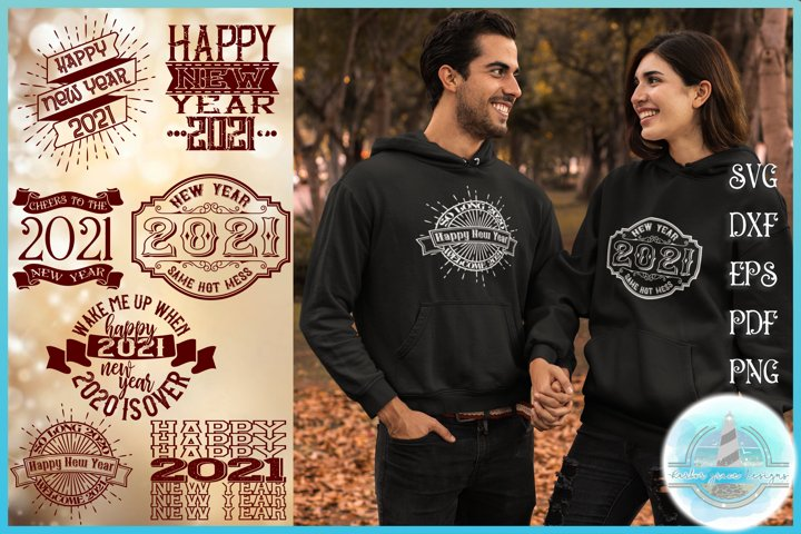 New Years 2021 Happy New Year Quote Bundle SVG