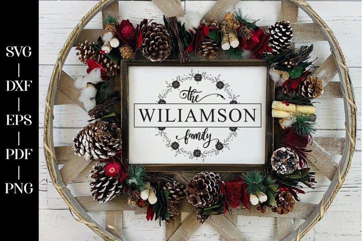 Farmhouse Monogram SVG, Last Name Farmhouse Monogram Wreath