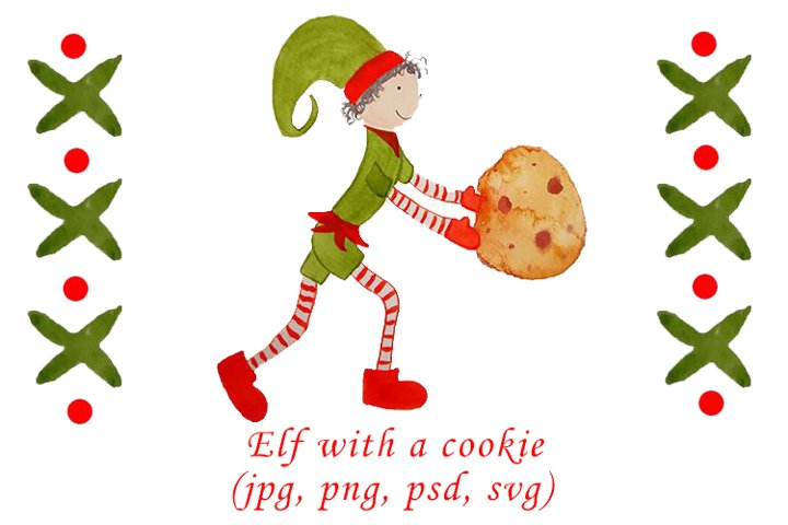 Watercolor Christmas elf with a cookie