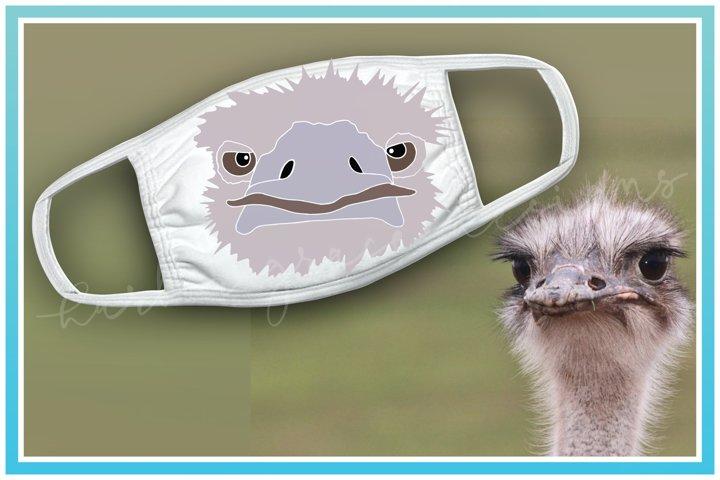Ostrich Face Mask SVG, PNG, Sublimation, Screenprint