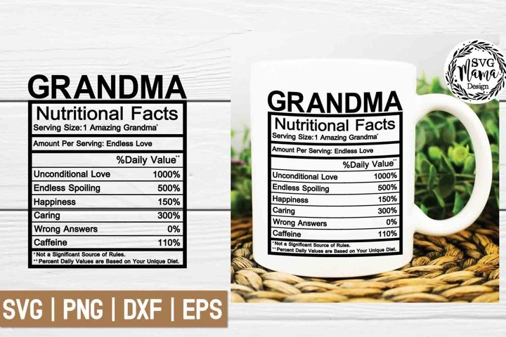 Grandma Nutritional Facts Svg